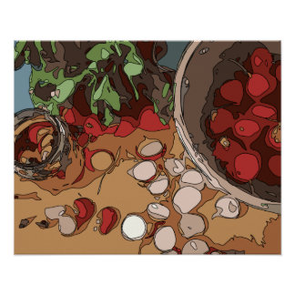 Juicy Radishes and Grilled Potato Print