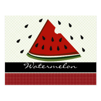 Juicy Red Watermelon Art Postcard