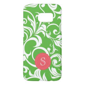 Juicy Watermelon Floral Wallpaper Swirl Monogram Samsung Galaxy S7 Case