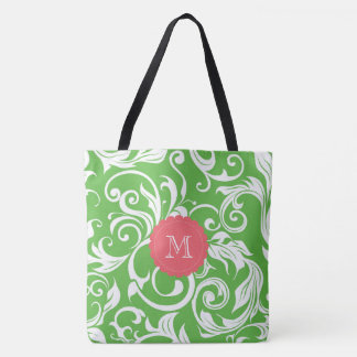 Juicy Watermelon Floral Wallpaper Swirl Monogram Tote Bag