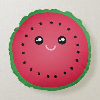 Juicy Watermelon Slice Cute Kawaii Funny Foodie Round Pillow