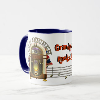Jukebox Old Rocker Personalized Mugs