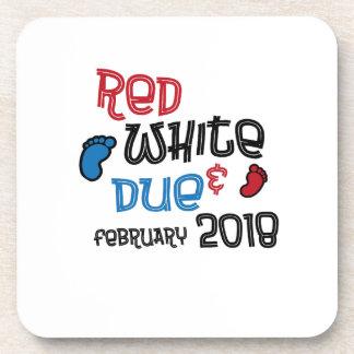 Jul 4th Maternity Pregnant  Red White Due Feb 2018 Coaster