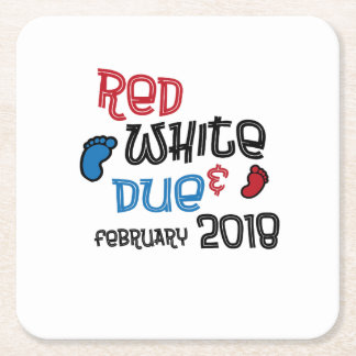 Jul 4th Maternity Pregnant  Red White Due Feb 2018 Square Paper Coaster
