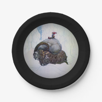 Julbacken Boy Riding Christmas Goat Paper Plate