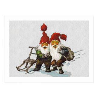 Julenisse Friends Sledding Postcard
