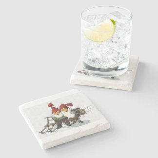Julenisse Friends Sledding Stone Coaster