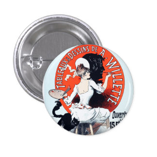 Jules Cheret Exposition Art Nouveau Button