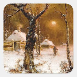 Jules Klever : Promenade de nuit d'hiver Autocollants Carrés