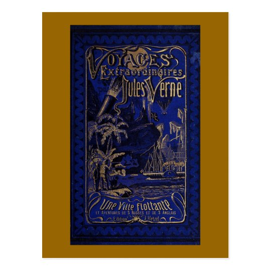 Jules Verne A Floating City Antique Book Cover Postcard