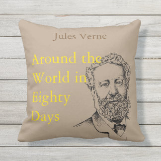 Jules Verne, the steampunk writer Outdoor Pillow