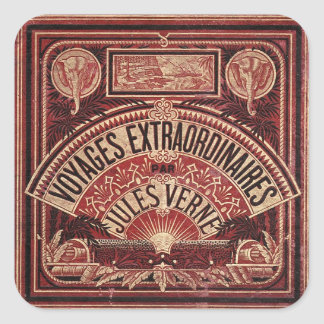 "JULES VERNE ""VOYAGES EXTRAORDINAIRES"" (1878) SQUARE STICKER"