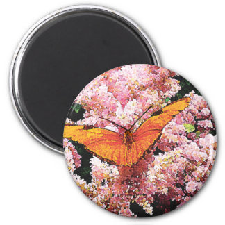 Julia Butterfly on Pink Flowers 2 Inch Round Magnet
