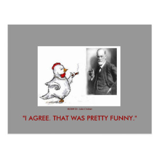 Julia Chicken and Sigmund Freud Face Off Postcard