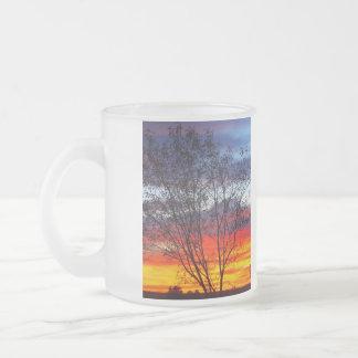 Julia Creek sunset silhouette frosted glass mug