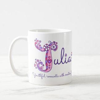 Julia name meaning decorative J monogram mug