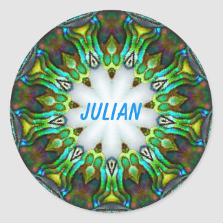 JULIAN ~ Personalised Paua Shell Fractal ~ Classic Round Sticker
