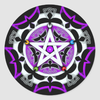 Julia's Crow Pentacle Round Sticker