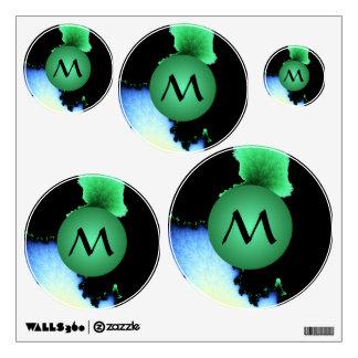 Julia's Joy, Fractal Blobs - Green Monogram Wall Decal