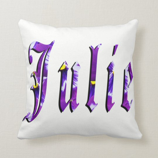 Julie, Name, Logo, WhiteThrow Cushion. Throw Pillow
