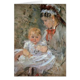 Julie with her nurse by Berthe Morisot Card