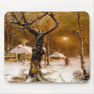 Julius Klever: Winter Night Walk Mousepad