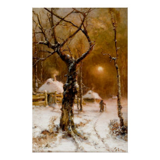 Julius Klever: Winter Night Walk Poster