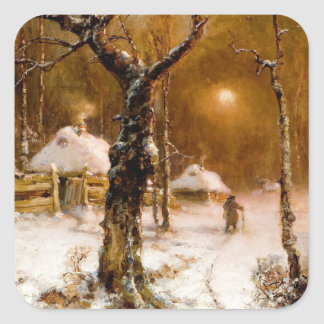Julius Klever: Winter Night Walk Square Sticker