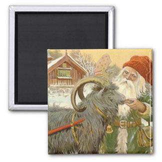 Jultomten Feeding Yule Goat a Cookie Magnet