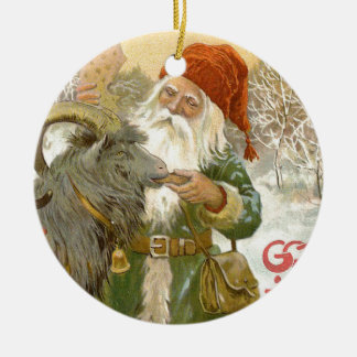 Jultomten Feeds Yule Goat a Cookie Ceramic Ornament