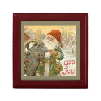Jultomten Feeds Yule Goat a Cookie Gift Box
