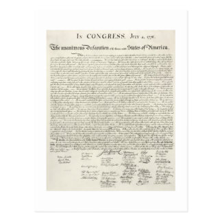 July 4,1776 DECLARATION OF INDEpendence Postcard