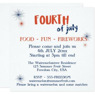 July 4 Party Invitation Food Fun Fireworks