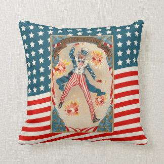 July 4 Uncle Sam Patriotic Vintage Americana Throw Pillow