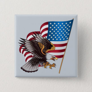 July 4th American Flag and Eagle 2 Inch Square Button
