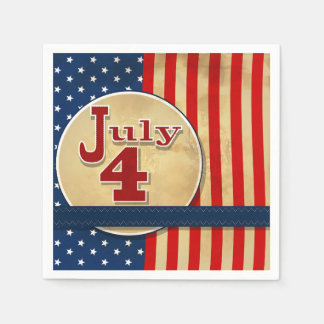 July 4th American Flag Paper Napkins
