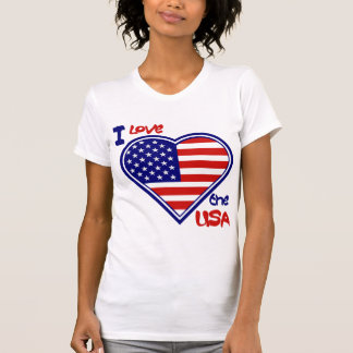 July 4th American Heart Flag I Love the USA Ladies T-Shirt