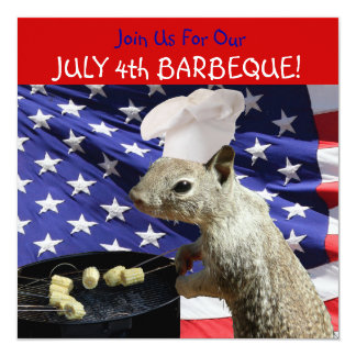 July 4th BBQin Squirrel Invitations