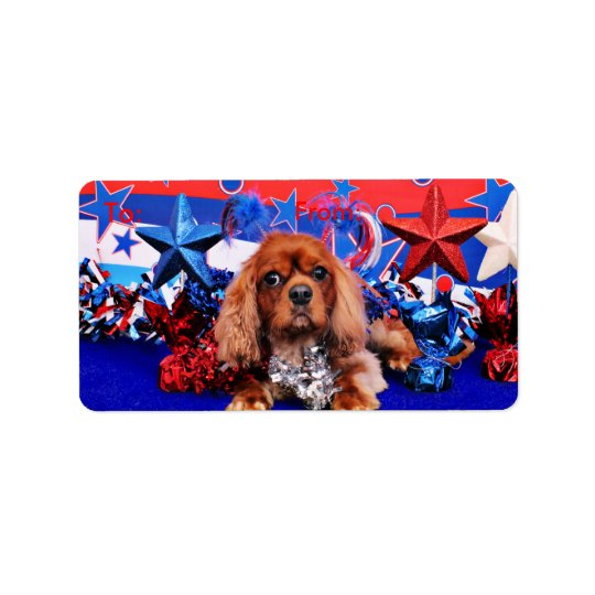 July 4th - Cavalier King Charles Spaniel - Cooper Label