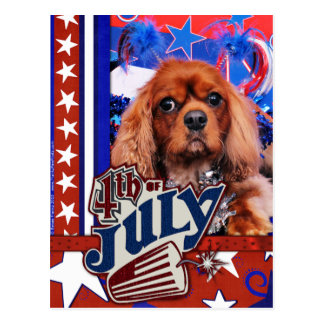 July 4th - Cavalier King Charles Spaniel - Cooper Postcard