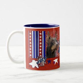 July 4th Firecracker - Doberman - Red - Rocky Two-Tone Coffee Mug