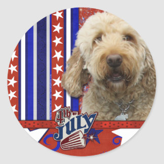July 4th Firecracker - GoldenDoodle Classic Round Sticker
