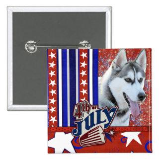 July 4th Firecracker - Siberian Husky Pinback Buttons