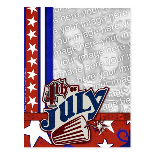 July 4th Firecracker - YOUR PHOTO Inserted Postcards