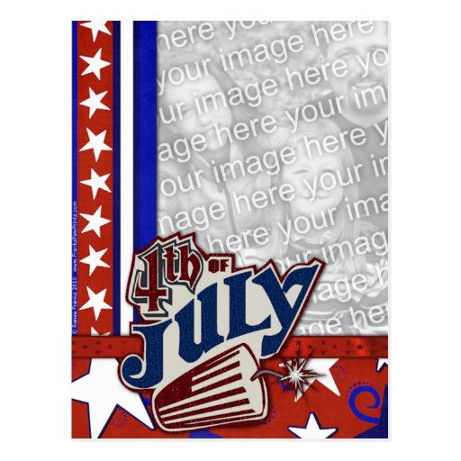 July 4th Firecracker - YOUR PHOTO Inserted Post Card