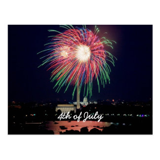 July 4th Fireworks, Washington DC Postcard