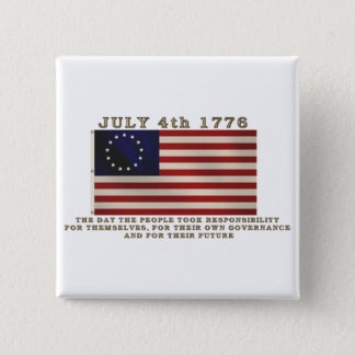 July 4th Flag 2 Inch Square Button