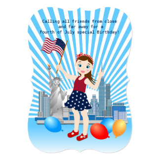 July 4th Girl birthday party invitation
