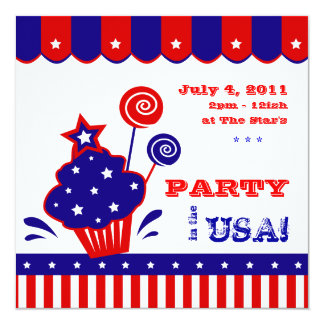 July 4th Independence Day BBQ Invitation Red White