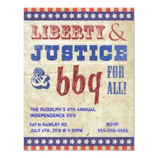 July 4th Independence Day BBQ Picnic Invitation